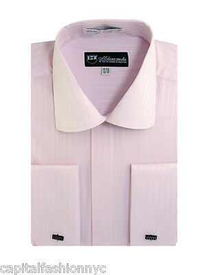 Men's Dress Shirt Striped Tone On Tone French Cuff Spread Collar 7 Colors SG30
