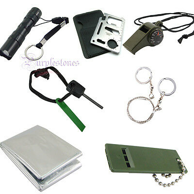 Outdoor Emergency Survival Kit Whistle Blanket Fire Wire Saw Knife Flashlight