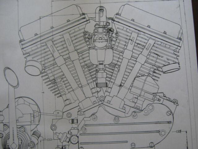 2 HARLEY DAVIDSON PANhead Engine BLUEPRINT Transmision FLH V2 V Twin print vtg