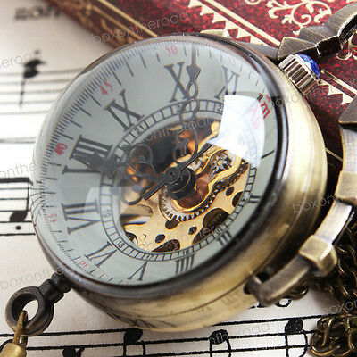 Steampunk Vintage Classic Bronze Crystal Ball Roman dial Mechanical Pocket Watch