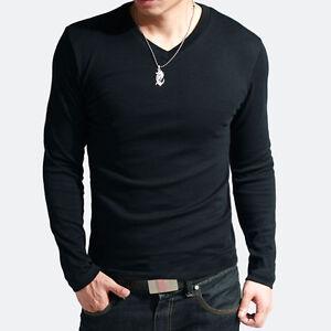 CHEAP-Cotton-Lycra-Mens-V-Neck-Basic-Tee-Shirts-Long-Sleeve-T-Shirt-Dress-Tops