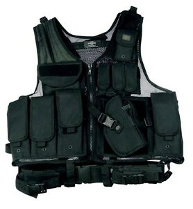 Deluxe-Tactical-Vest-Swat-Paintball-Airsoft-Police-Black-Right-Handed-Holster
