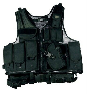 Deluxe Tactical Vest Swat Paintball Airsoft Police Black Right Handed Holster