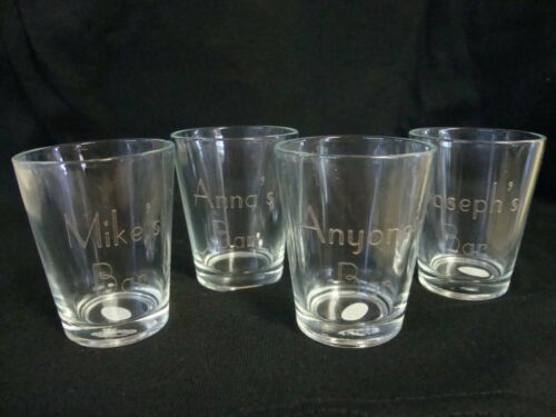PERSONALIZED SHOTGLASSES SET OF 4- CUSTOM MADE FOR YOU!