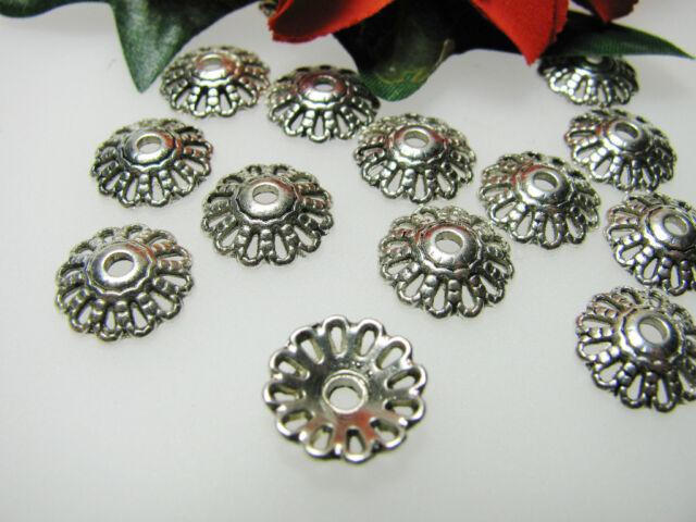 10 Perlkappen 11 mm, in silber - antik, Perlen basteln, Metallperle