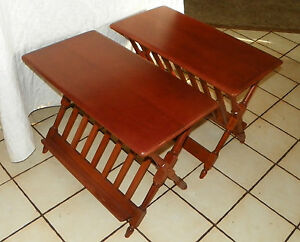 Pair-Heywood-Wakefield-Cherry-Magazine-Rack-End-Tables-Side-Tables-T277