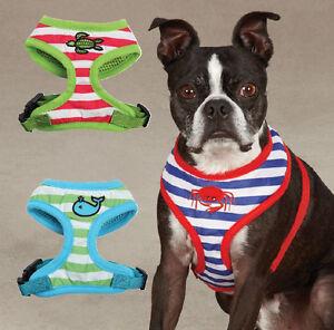 Soft-Fabric-Beachcomber-Dog-Harness-Striped-Mesh-Harnesses-Zack-amp-Zoey-Nautical