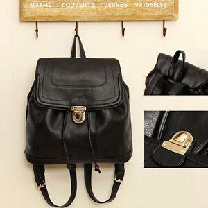 Black Fashion Girl Women PU Leather Backpack Shoulder Handbag ...