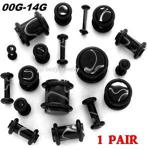 PAIR-14g-12g-10g-8g-6g-4g-2g-0g-00g-Black-Marble-Swirl-Plugs-Specify-Size