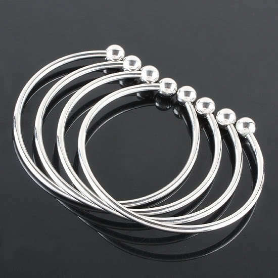10X Bright Silvery Smooth Plain Cuff European Bracelet Bangle For Charm Findings