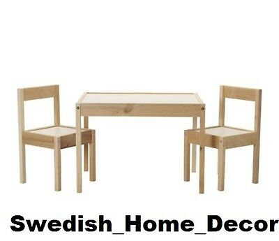 IKEA CHILDRENS TABLE & 2 CHAIR SET WHITE PINE LATT KIDS Wood toddler play gift