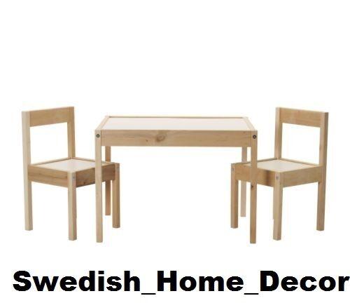 IKEA CHILDRENS TABLE & 2 CHAIR SET WHITE PINE LATT KIDS Wood toddler play gift