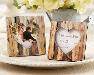 24 Rustic Romance Faux-Wood Heart Place Card Holder Photo Frame Wedding Favor