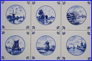 6keramik k chen fliesen delfter art m hlen schiff leuchtturm blau wei kacheln. Black Bedroom Furniture Sets. Home Design Ideas