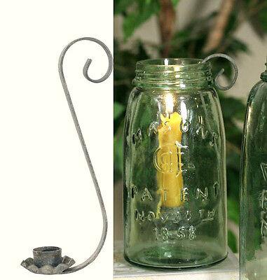 Primitive Candle Holder for Quart -- Mason / Ball Canning Jar - Barn Roof
