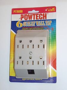 New 6 Outlet Wall Tap Grounding Power Adapter