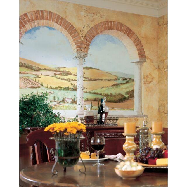 TUSCAN VIEW WALL MURAL Brick Arch & Vineyard Prepasted Wallpaper Kitchen Decor