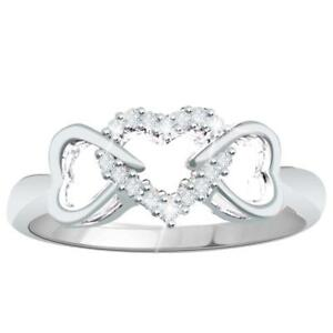 0-10CT-Natural-Diamond-Sterling-Silver-Triple-Hearts-Promise-Ring-with-Gift-Box