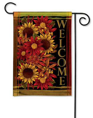 RUSTS OF AUTUMN WELCOME SUNFLOWERS FALL LEAVES SMALL GARDEN FLAG BANNER 12.5x18""