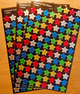 3 Sheets Colorful Foil Shiny STAR Red Green Silver 300 Scrapbook ...