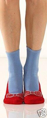 Foot Traffic Red Bow Slipper Non Skid Socks Ladies Crew Socks Blue & Red New