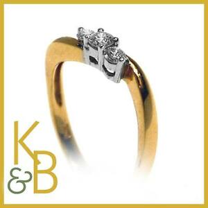 Ladies-18ct-Gold-0-26ct-3-Stone-Diamond-Dress-Ring-SIZE-L-1-2-Ref-6512-SALE