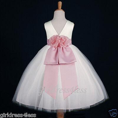 IVORY/BABY PINK WEDDING TULLE FAIRYTALE FLOWER GIRL DRESS 12-18M 2 4 6 8 10 12