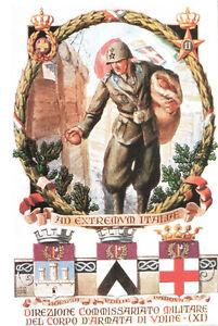 CARTOLINA-MILITARE-DIREZIONE-COMMISSARIATO-MILITARE-ARMATA-UDINE-1936-Riprod