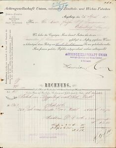 augsburg rechnung 1890 a g union vereinigte z ndholz. Black Bedroom Furniture Sets. Home Design Ideas