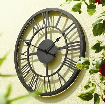 Large Outdoor Wall Clock Skeleton Roman Numeral Garden Metal Framed Iron Antique