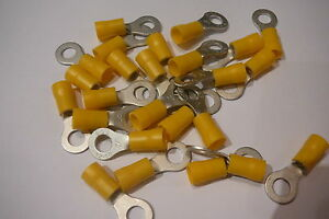 25-pack-of-yellow-6-4mm-ring-terminal-crimp-connector-for-6mm-bolt-screw