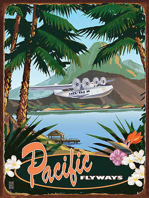 Pacific Flyways Metal Sign, Vintage Travel Poster with Clipper Airplane, Tropics