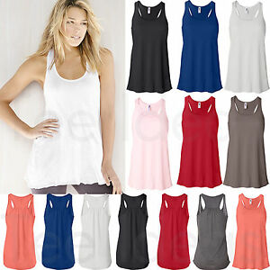 Bella-Ladies-Flowy-Racerback-Tank-Top-Wemens-S-2XL-8800-B8800