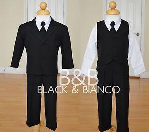 Boys-Wedding-Black-Tuxedo-Suit-W-Tie-Toddler-Infants-Size-0-24-Months-2T-3T-4T