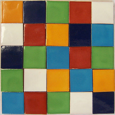 100  HANDMADE MEXICAN TILES 2x2 CERAMIC SOLID COLOR