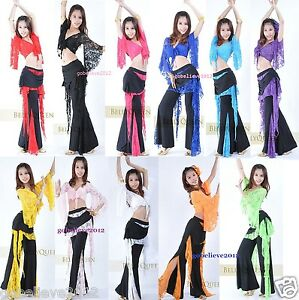 Brand-New-Sexy-Belly-Dance-Costume-Set-Top-amp-Pants-11-Colors-Free-Shipping
