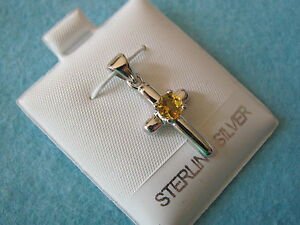 Citrine-Gemstone-4mm-round-cut-925-Sterling-Silver-Cross-Pendant-22mm-long