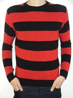 Mens ladies Stripey Jumper red black dennis menace indie mod Top striped 80s 70s