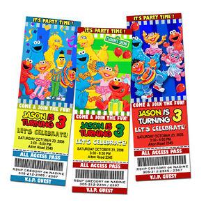 elmo sesame street birthday party invitation ticket 1st - custom, Party invitations