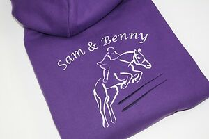 Personalised-Embroidered-Girls-Adults-Show-Jumping-Horse-Rider-Hoodie-2-Colours