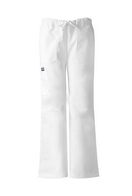 White Cherokee Workwear Low Rise Drawstring Cargo Scrub Pants 4020 WHTW