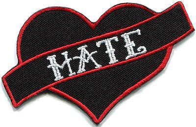 Hate heart no love biker tattoo funny joke humorous applique iron-on patch G-111