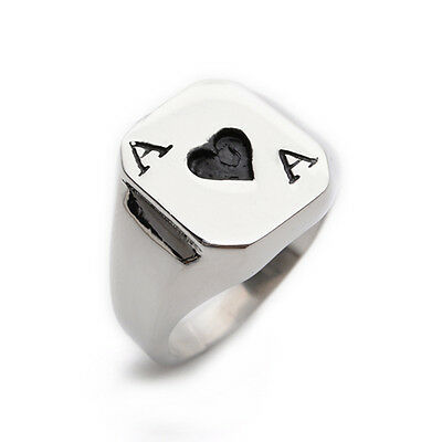 Black Ace Poker Playing Card Stainless Steel Mens Ring Size 8 9 10 11 12 R327