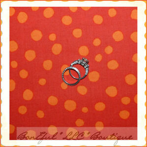BonEful-Fabric-FQ-Cotton-Red-Orange-Large-Polka-Dot-Scattered-Quilt-Calico-Retro