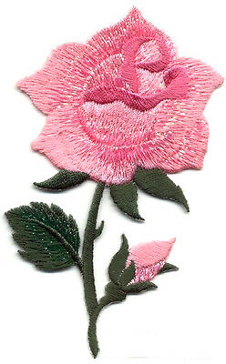 SHIMMERY PINK EMBROIDERED ROSE W/BUD IRON ON APPLIQUE