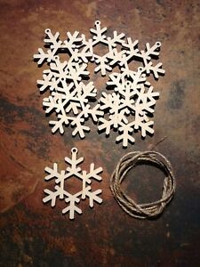 10x-Wooden-Snowflake-Christmas-Tree-decoration-or-Tag-85mm-x-75mm