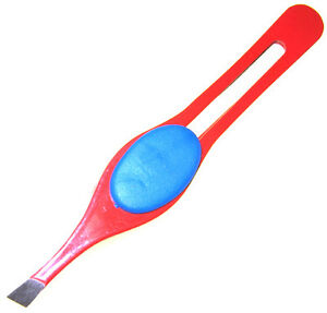 New-3-5-Eyebrow-Tweezers-SLANT-Precision-Tips-RED-FINGER-PAD-Design-US-SHIPPER
