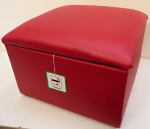 RED-FAUX-LEATHER-STORAGE-BOX-FOOTSTOOLS-POUFFES-20-034-x-20-034