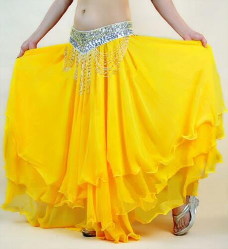 Belly Dance Costume Flamenco 3 Layers Skirt 12 Colors