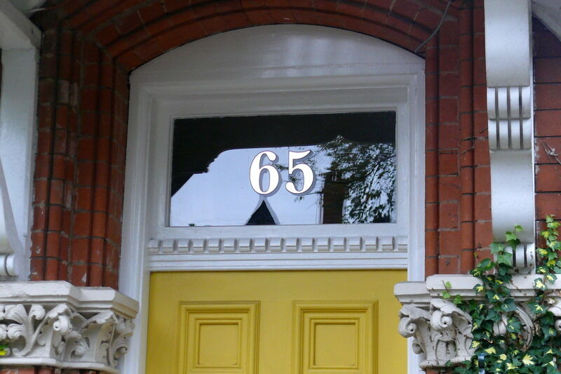 Transom House Numbers for Victorian Front Door Fanlights Gold Leaf Fanlight